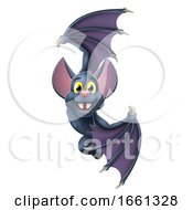 Halloween Vampire Bat Cartoon Character Sign by AtStockIllustration