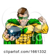 07/31/2019 - Superhero Holding Bowling Ball Sports Mascot