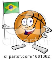 Basketball Mascot Holding A Brazil Flag by Domenico Condello