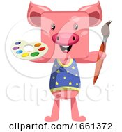 Pig With Paintbrush
