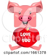 Poster, Art Print Of Pig With Big Heart