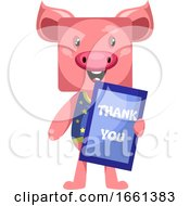 Pig With Thank You Sign