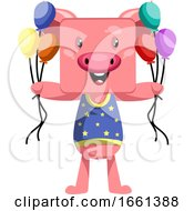 Pig Holding Balloons by Morphart Creations