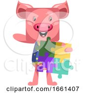 Poster, Art Print Of Pig Holding Puzzle