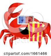 Crab With Popcorn And 3d Glasses by Morphart Creations