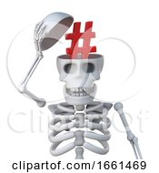 3d Skeleton Has A Hash Tag In His Skull For Some Reason