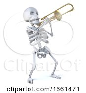 3d Skeleton Playing His Trombone With Verve by Steve Young #COLLC1661471-0194