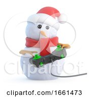 Poster, Art Print Of 3d Santa Snowman Plays A Videogame