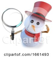 3d Funny Cartoon Snowman Wearing A Top Hat And Holding A Magnifying Glass