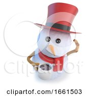 Poster, Art Print Of 3d Funny Cartoon Snowman Wearing A Top Hat And Holding A Mug Of Coffee Or Tea