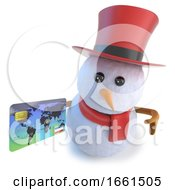 3d Funny Cartoon Snowman In Top Hat Holding A Credit Card