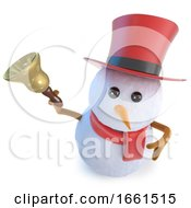 Poster, Art Print Of 3d Funny Cartoon Snowman In Top Hat Ringing A Seasonal Christmas Bell