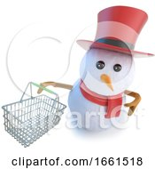 3d Funny Cartoon Snowman In Top Hat Holding A Shopping Basket