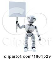 3d Robot Holding A Blank Placard