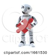 Poster, Art Print Of 3d Robot Holds A Piece Of The Jigsaw Puzzle