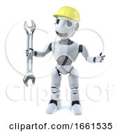 3d Robot In Hard Hat Holding A Spanner