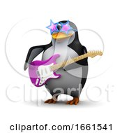 Poster, Art Print Of 3d Penguin Playing A Guitar