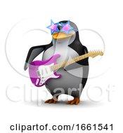 3d Penguin Playing A Guitar