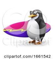 Poster, Art Print Of 3d Surfer Penguin