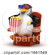Poster, Art Print Of 3d Penguin Eats Popcorn At The 3d Movie