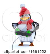 3d Cute Winter Penguin Is Playing A Video Game