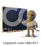 3d Mummy Monster At The Blackboard