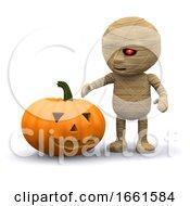 3d Halloween Mummy With Pumpkin by Steve Young
