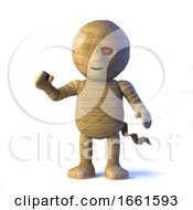 3d Funny Halloween Egyptian Mummy Monster Waves A Happy Hello by Steve Young