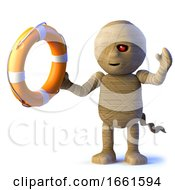 3d Egyptian Mummy Monster Holding A Life Preserver by Steve Young