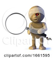 3d Funny Halloween Egyptian Mummy Monster Has A Magnifying Glass by Steve Young