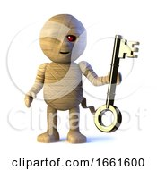 3d Egyptian Mummy Monster Has A Gold Key by Steve Young