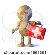 3d Funny Halloween Egyptian Mummy Monster Brings First Aid by Steve Young