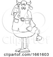 Cartoon Black And White Cow Talking On A Cell Phone