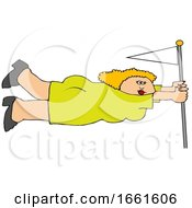 Lady Holding Onto A Flag Pole In Extreme Wind