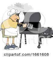 Cartoon White Man Cooking With A Smoker