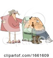 Poster, Art Print Of Cartoon Wife Nagging Her Husband As He Sits In A Chair And Drinks A Beer