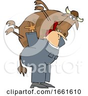 Cartoon White Male Farmer Carrying A Cow