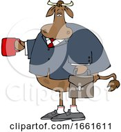 Cartoon Business Cow Holding A Coffee Mug