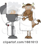 Cartoon Cow Cooking On A BBQ
