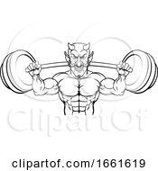 08/03/2019 - Devil Weight Lifting Body Builder Sports Mascot