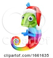 08/03/2019 - Christmas Rainbow Chameleon Santa Hat Sign Cartoon