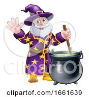 Wizard Cartoon Character And Cauldron
