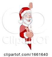 Young Santa Christmas Cartoon Sign Thumbs Up