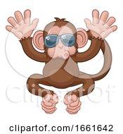 08/03/2019 - Monkey Sunglasses Cartoon Animal Mascot Waving