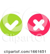 Green Tick And Red Cross Signs For Yes And No Buttons