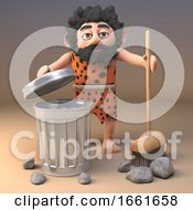 3d Caveman Sweeping Up The Rocks From Last Nights Party With A Broom by Steve Young