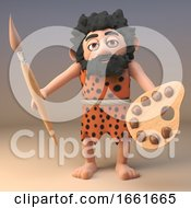Poster, Art Print Of 3d Artistic Caveman With Paintbrush And Palette Of Earth Tones