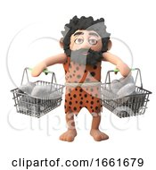 Funny Stone Age Caveman Character In 3d Carrying Rocks And Stones In His Shopping Baskets