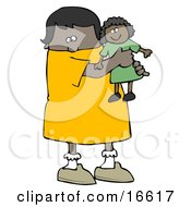 Little African American Girl Child Holding And Hugging Her Doll Toy While Playing Clipart Image Graphic by djart