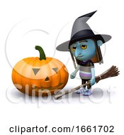 3d Witch And Pumpkin by Steve Young